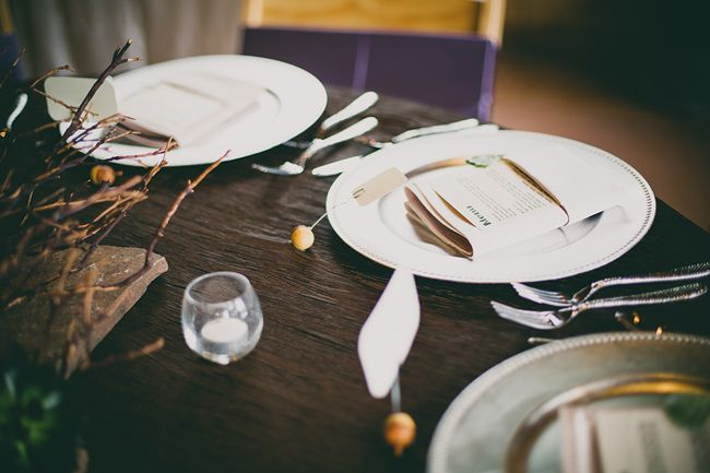 Silver charger and menu card wedding ideas-B. Lovely Events