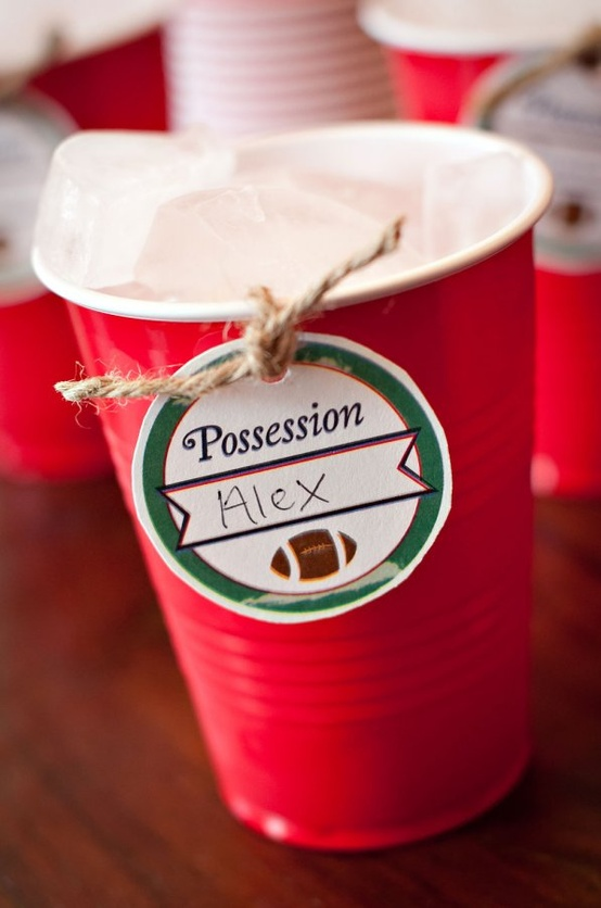 Super Bowl, Football Drink Tag ideas-more at blovelyevents.com