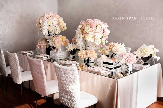 Luxurious Coco Chanel-inspired blush and white tablescape