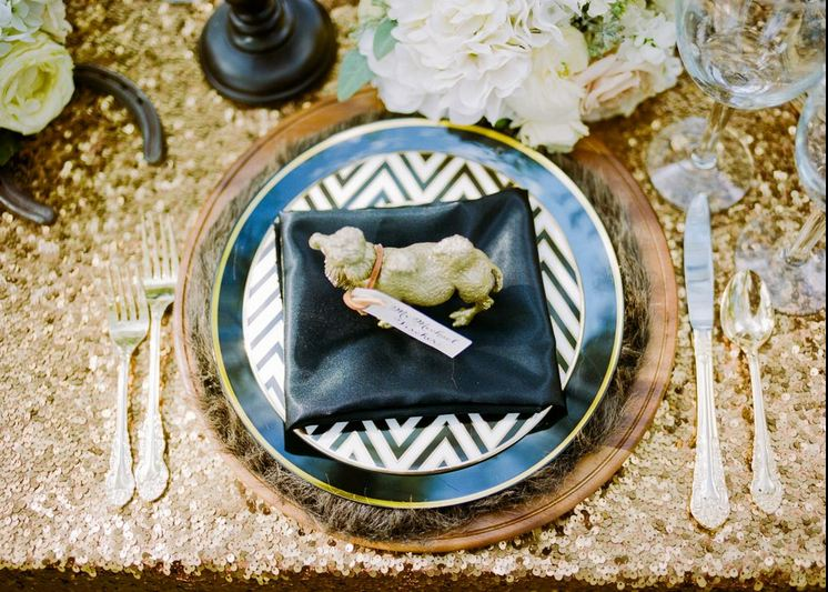 Chevron, fur and gold animal gold and black place setting