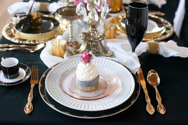 Gold, white and white modern elegant place setting