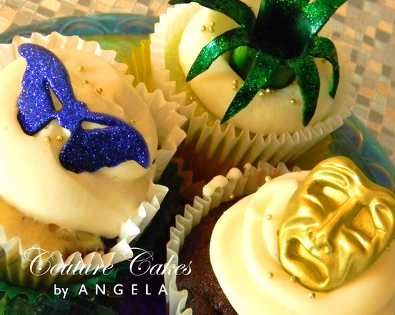 Mardi Gras Cupcakes with fabulous toppers
