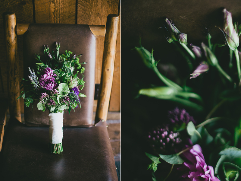 Natural purple and green rustic wedding bouquet- B. Lovely Events