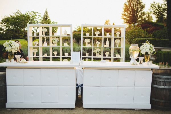 neutral toned wedding bar set up-blovelyevents.com