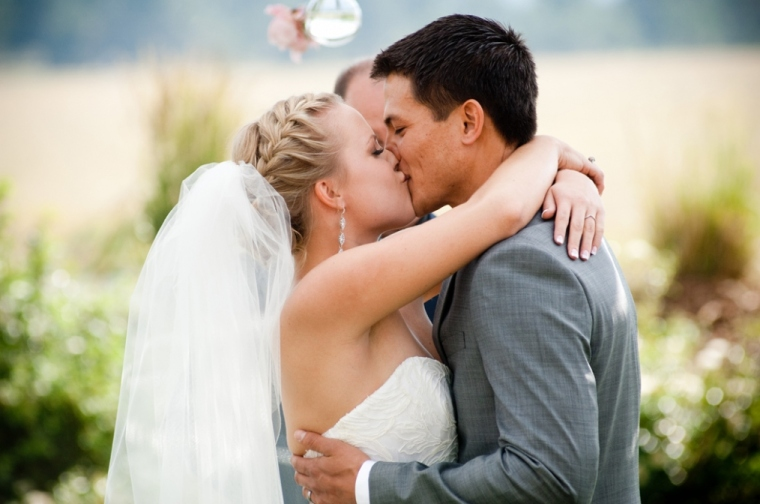 The Kiss! Real Wedding-blovelyevents.com