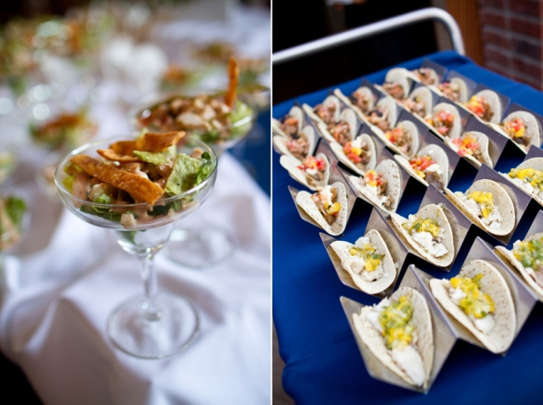 Taco Cart and salad bar at wedding-blovelyevents.com