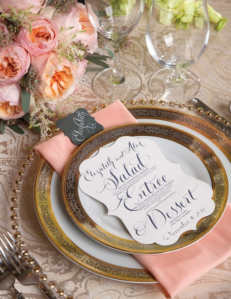 gold and pink place setting