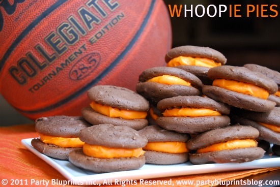 Basketball whoopie pies for march madness