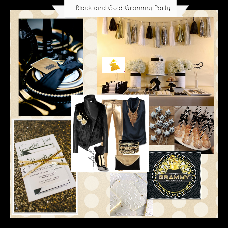 Black and Gold Grammy Party Inspiration Board