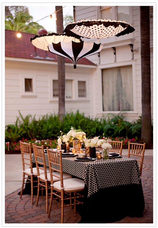 Black and white table decor and tablescape