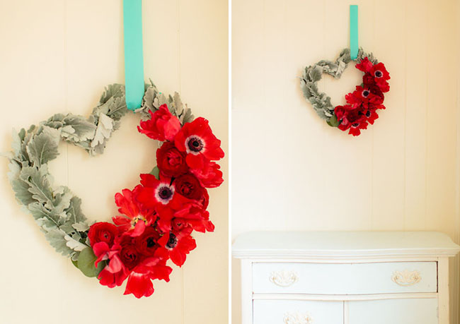 diy heart wreath with real flowers