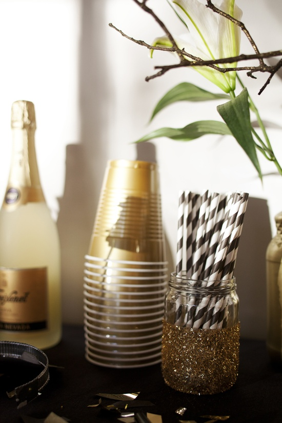 Gold and Black Decorations for an Oscar Party