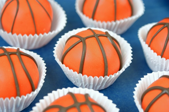 Basketball cupcakes for March Madness
