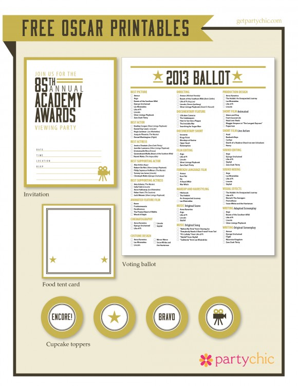 Oscar Party Free Printable