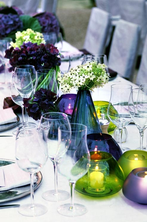 Shades of purple and blues with hints of green tablescape