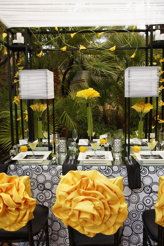 Whimsical black and yellow modern table