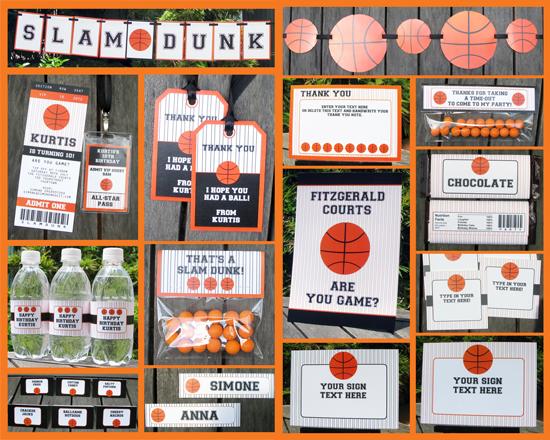 Basketball party printable set