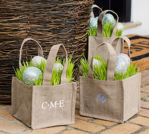 Easter bags with wheat grass for Easter