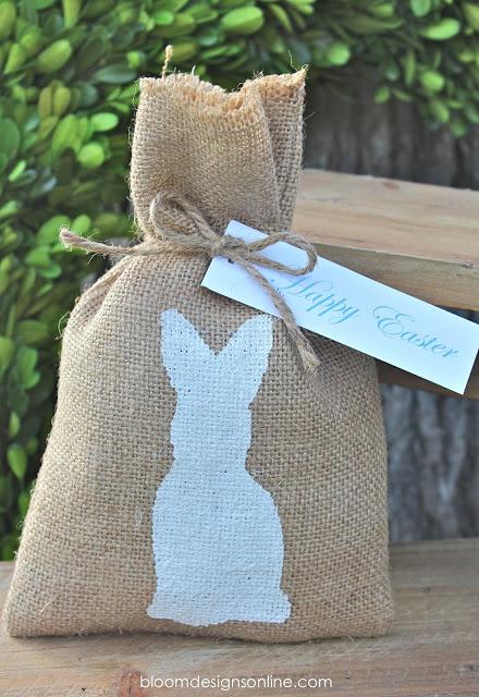Easter Burlap bunny bags