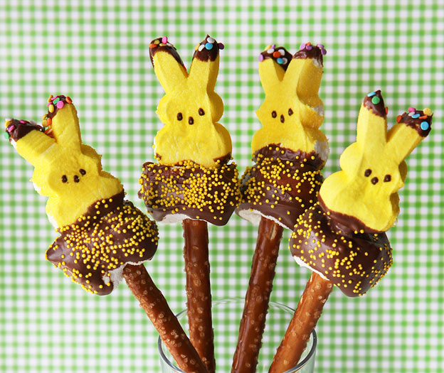 Easter peep pretzel pops