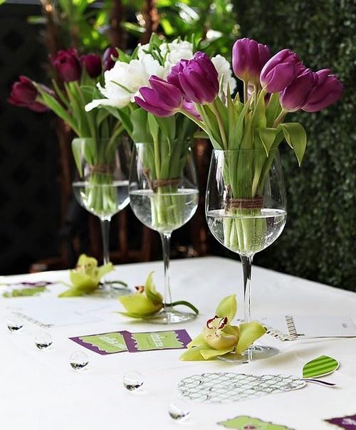 Easter Tulip centerpieces