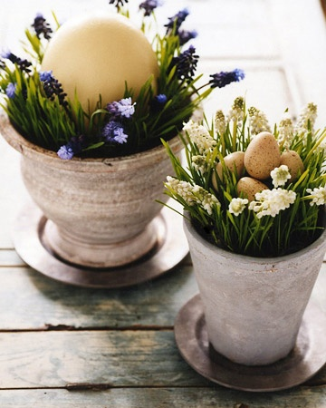 grass and egg centerpiece for Easter