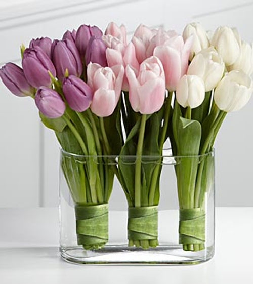Multicolored Tulip centerpiece