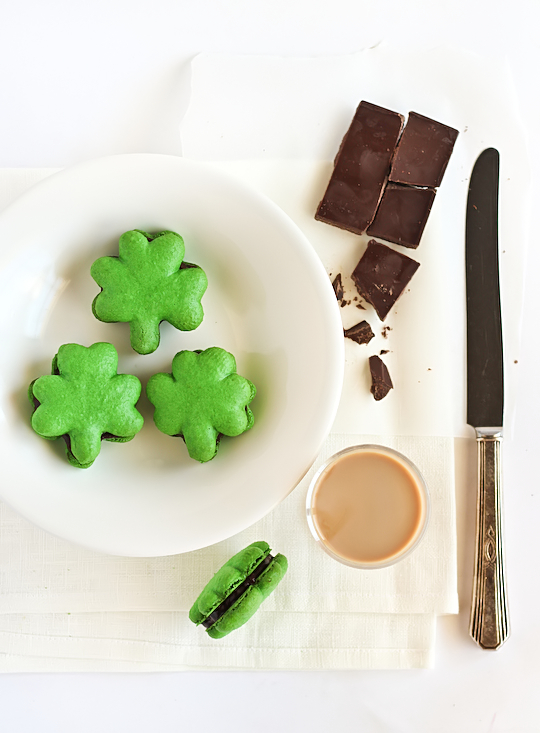 Shamrock Macaroons with Chocolate Bailey's Ganache