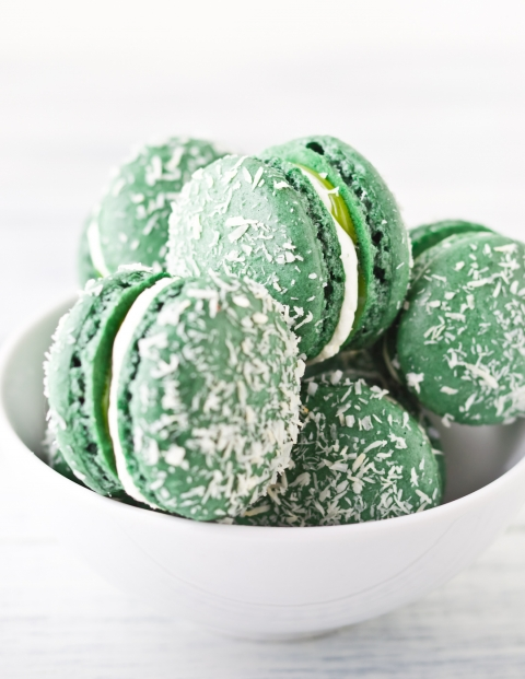 St. Patrick's Day Coconut and lime macaroons