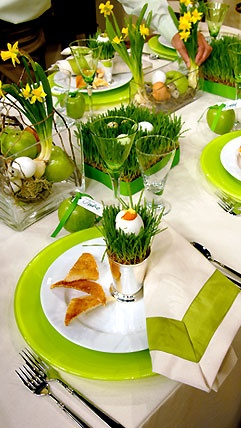 Tablescape with grass for Easter
