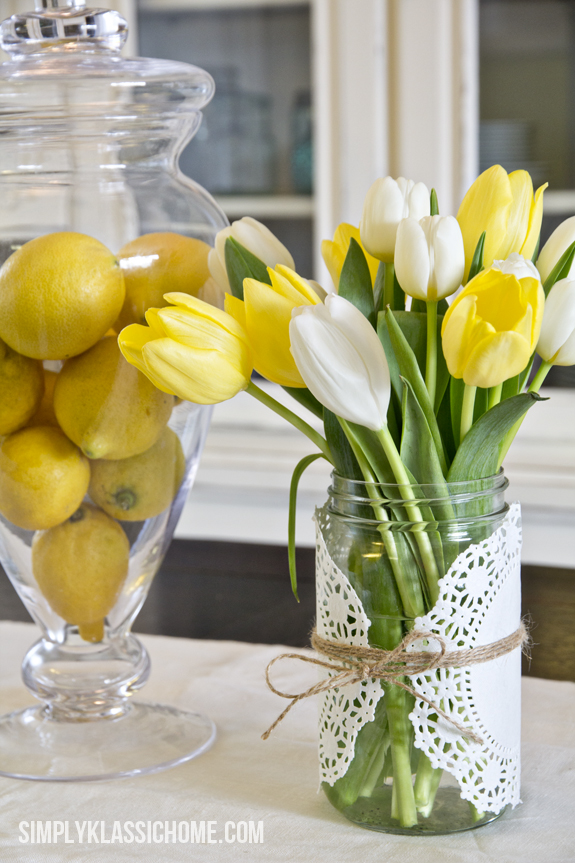 tulip centerpiece for Easter