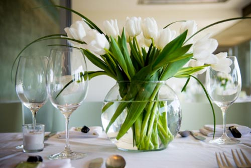Tulip Centerpiece with grass for Easter