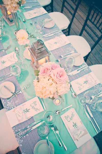 Vintage tablescape with turquoise and gold