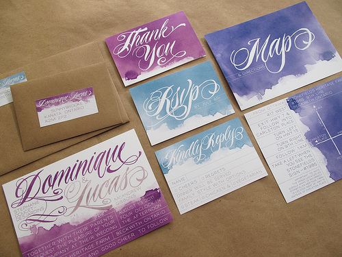 Watercolor wedding paper sets