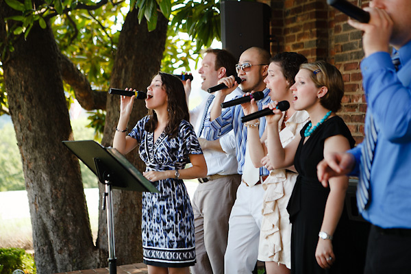 A Cappella group signing at wedding