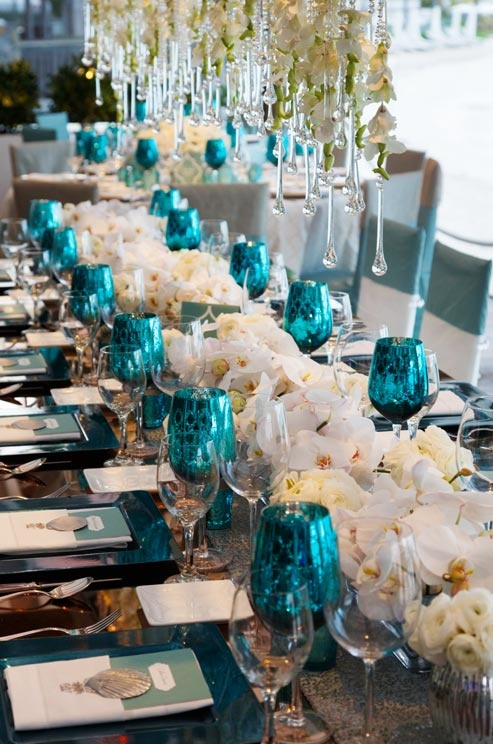 Inspiration of The Day B Lovely Events : all white floral with turquoise and silver accented tablescape from blovelyevents.com size 493 x 744 jpeg 123kB