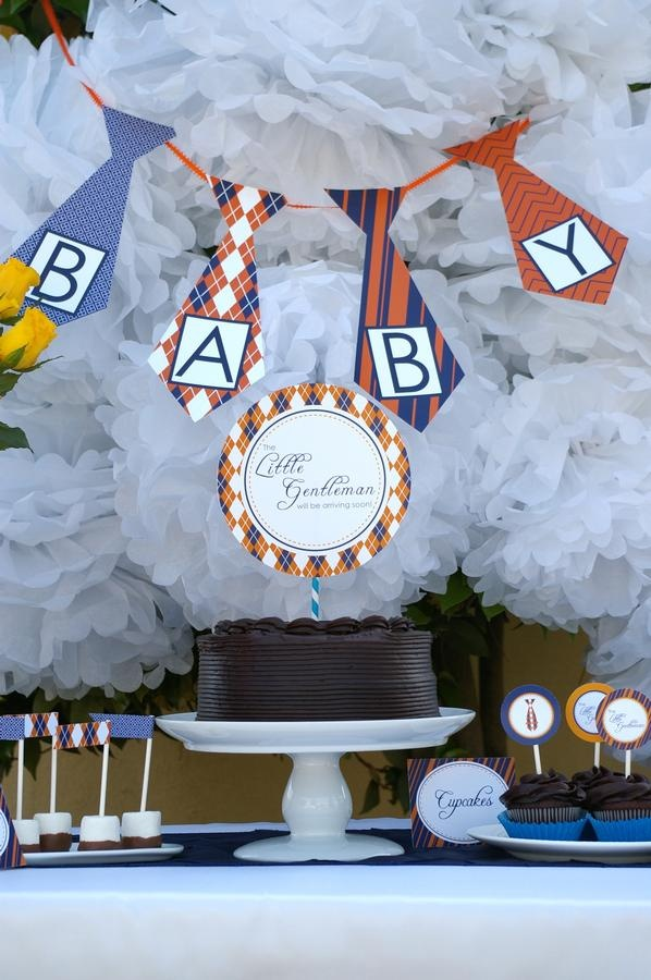 Baby Tie baby shower dessert backdrop