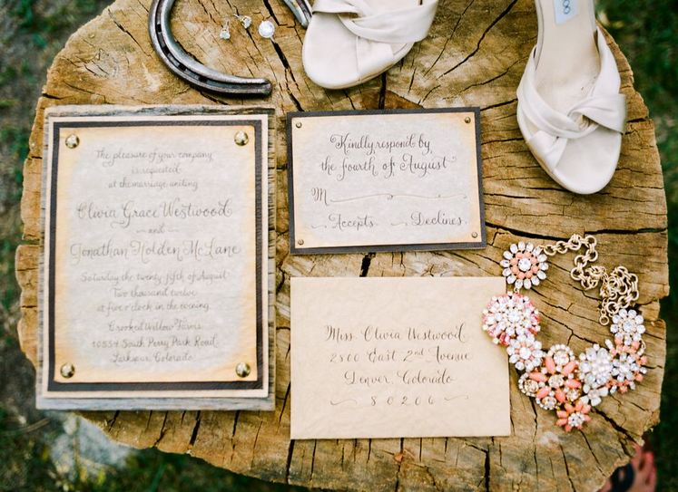 Rustic Glam wedding invitation set