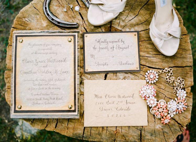 Rustic Glam wedding invitation set