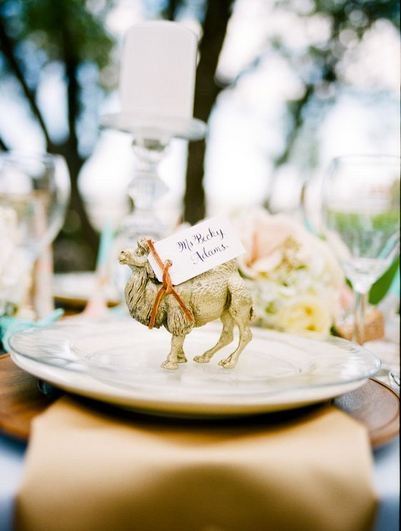 Gold animal place cards settings