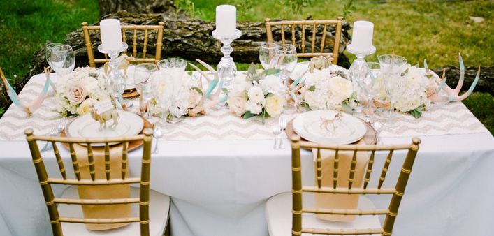 gold, pink and taupe rustic glam tablescape