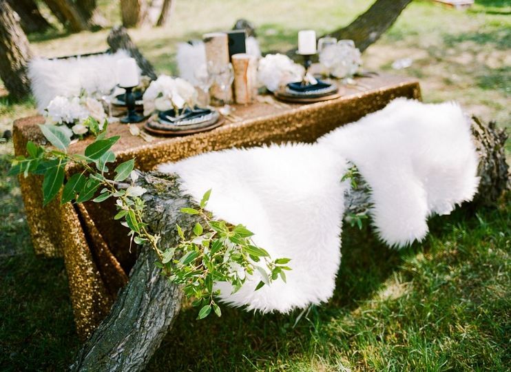 sheepskin seating for outdoor wedding-B. Lovely Events
