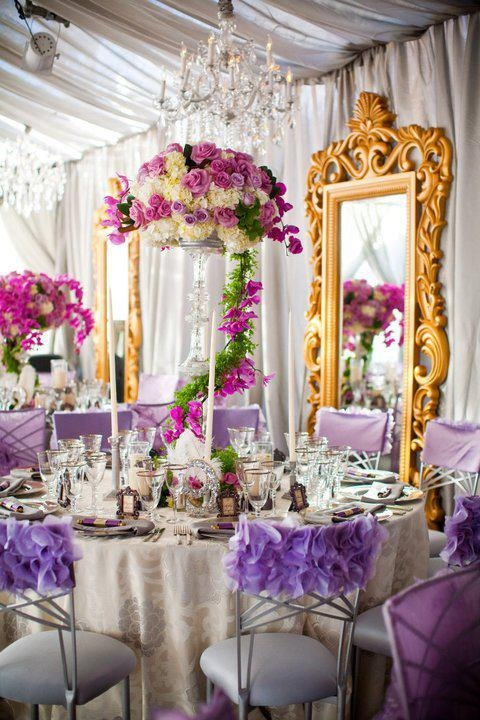 Decadent whimsical purple and gold tablescape