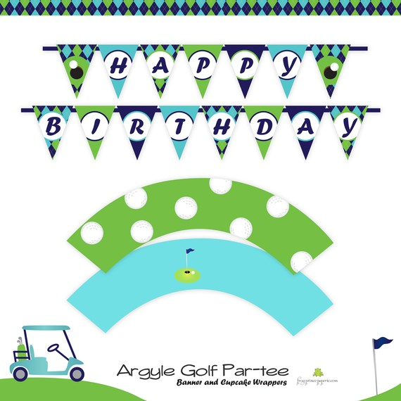 Golf party argyle printable set