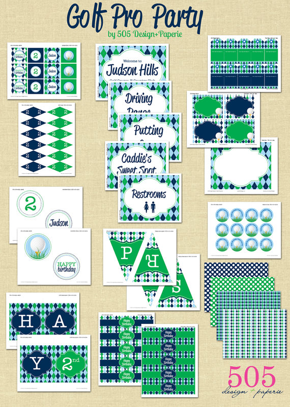 Golf Party blue and green printables set
