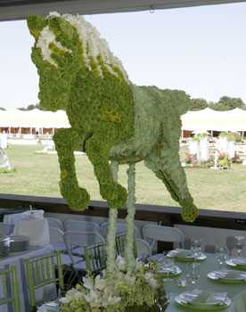 Gorgeous all flowered horse centerpiece for Kentucky Derby