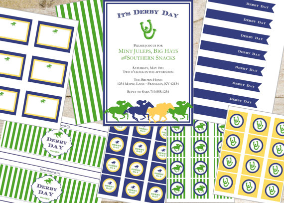 Kentucky derby blue and green printable set