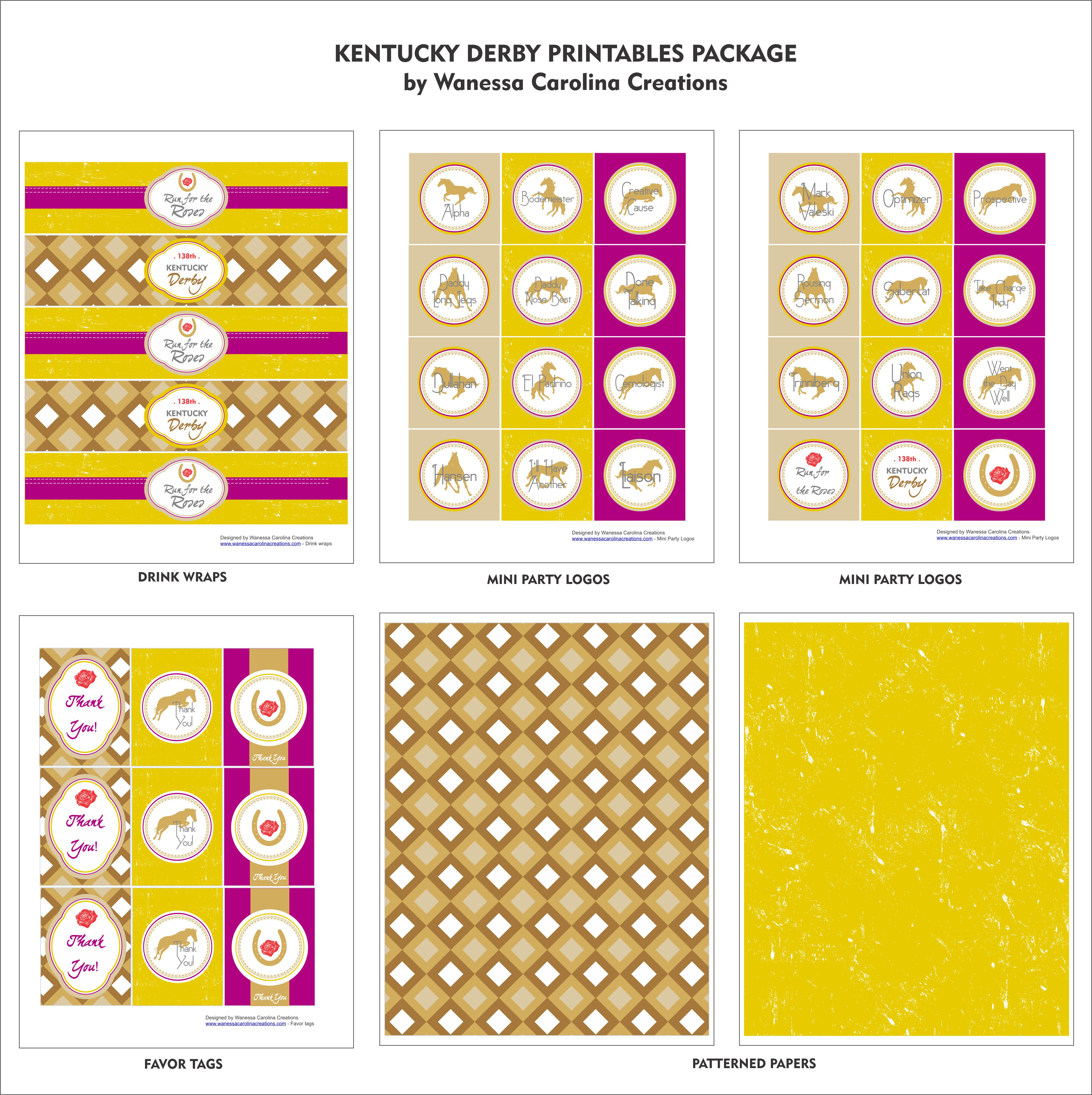 free kentucky derby printables-yellow and purple printable set