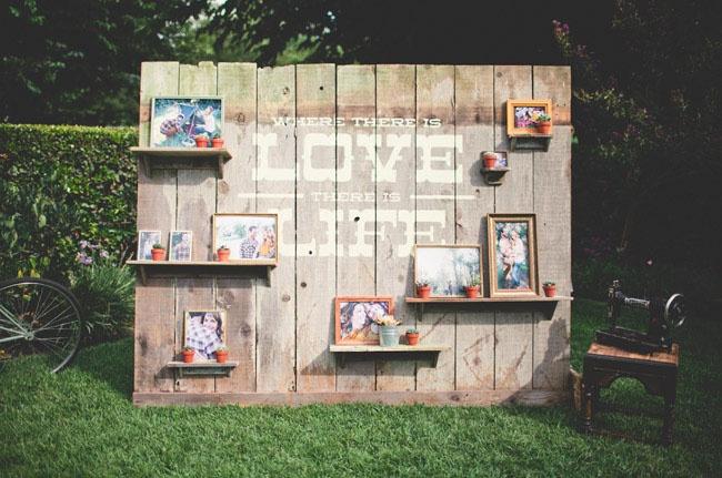 Love photo wall at wedding