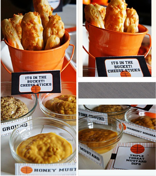 Cheese sticks and mustard dip at March Madness Basketball Party-B. Lovely Events